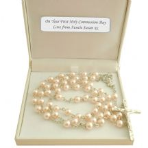 Pale Pink Rosary Beads in Personalised Gift Box